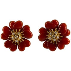 Mediterranean Red Coral 0.40 Carat Diamond Yellow Gold Clip-On Flowers Earrings