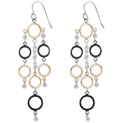 Rose White  Blacken  Diamond Circle 3 Inches Long Hoop Drop Rose Earrings