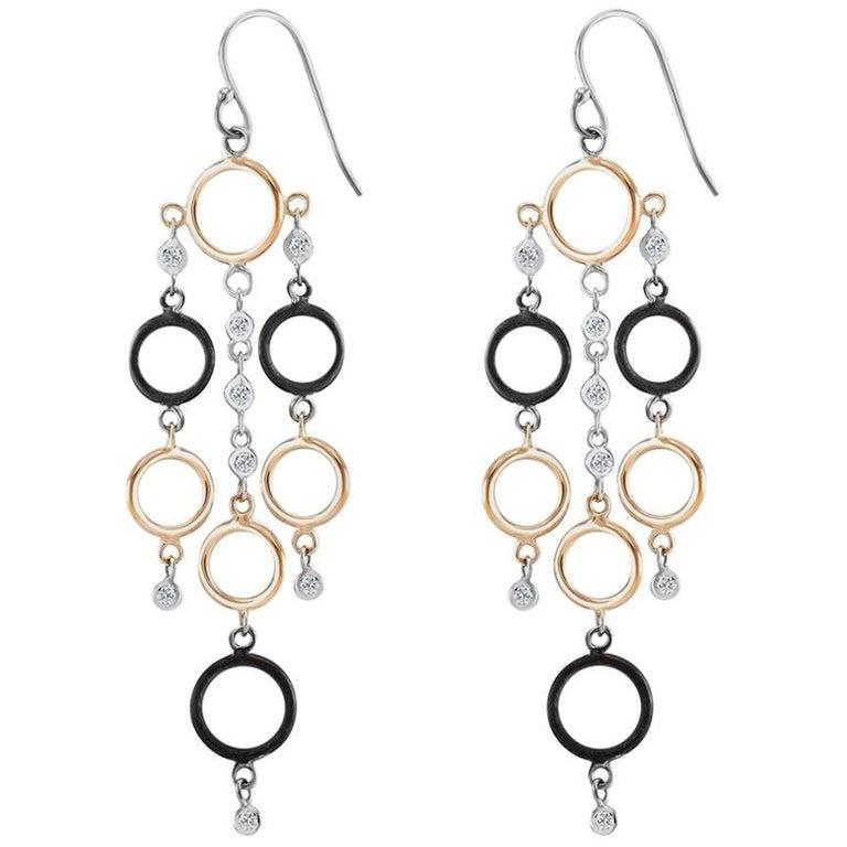Rose Gold Diamond Circle Hoop Drop Earrings
