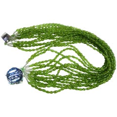 Peridot Toursade Necklace of 15 Strands