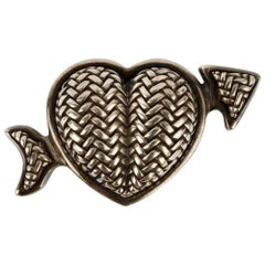 Kieselstein Cord Sterling Silver Heart Belt Buckle