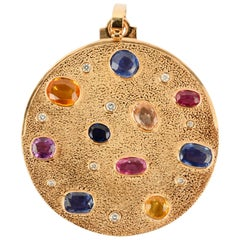 Large Round Gold Pendant with Gemstones
