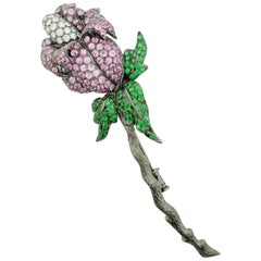 Sapphire Tsavorite Garnet and Diamond Flower Brooch in 18 Karat Oxidized Gold
