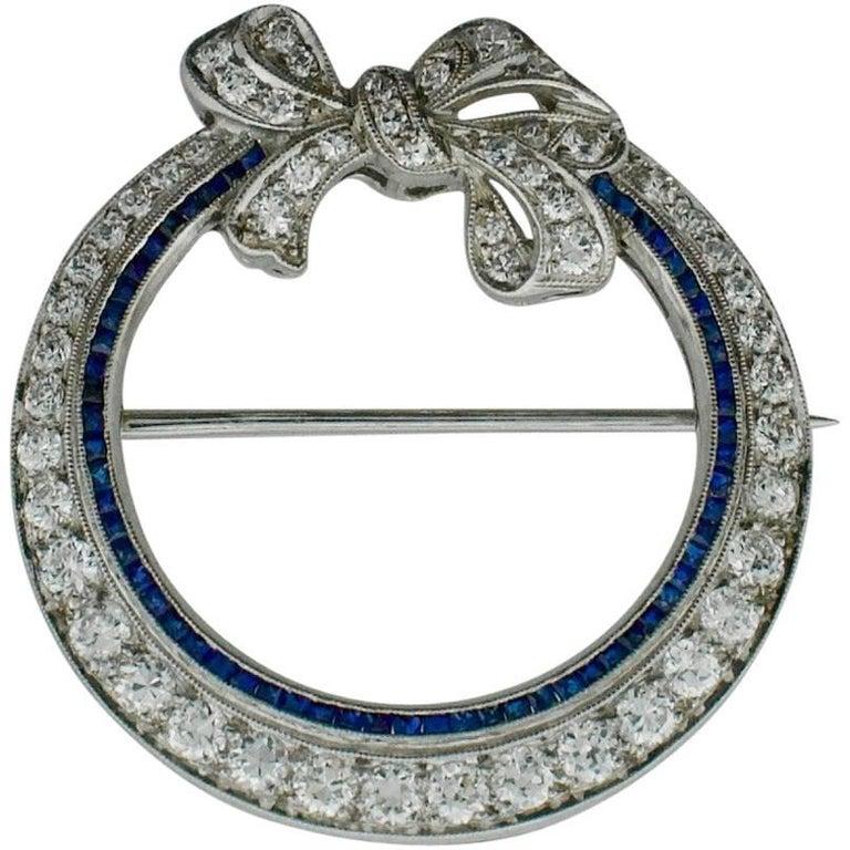 Art Deco Platinum Sapphire and Diamond Circle Brooch, circa 1920s