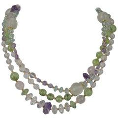 Decadent Jewels Rose Quartz Prehnite Blue Topaz Amethyst Rose Gold Necklace