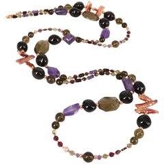 Decadent Jewels Smokey Quartz Garnet Pearl Amethyst Rose Gold Necklace