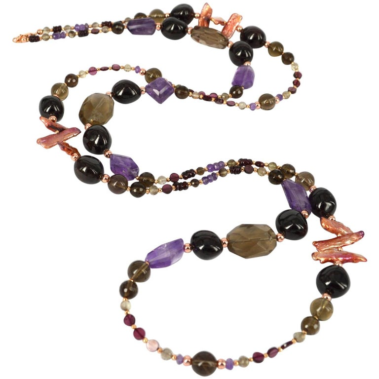 Decadent Jewels Smokey Quartz Garnet Pearl Amethyst Rose Gold Necklace