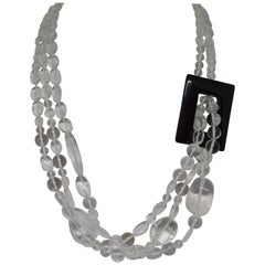 Decadent Jewels Rock Crystal Clear Quartz Black Agate Silver Torsade Necklace