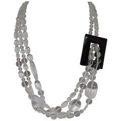 Decadent Jewels Rock Crystal Clear Quartz Black Agate Silver Torsade Necklace
