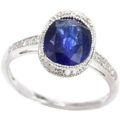 2.76 Carat Sapphire Diamond 18 Carat White Gold Dress Ring