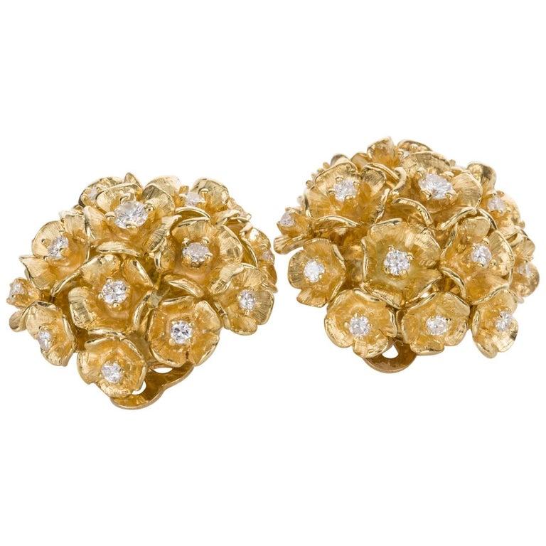 14 Karat Yellow Gold Diamond Flower Bombe Ear Clips Earrings