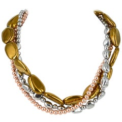 Decadent Jewels Metallica Gold Rose Bronze Silver Three-Strand Necklace