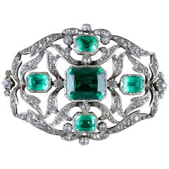 Antique Victorian Brooch Green Paste Silver, circa 1890