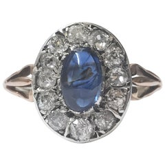Unheated Natural Cabochon Sapphire and Diamond 18 Karat Ring