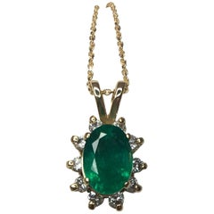 IGI Certified 1.65ct Zambian Emerald & Diamond Cluster Halo 14k Gold Pendant