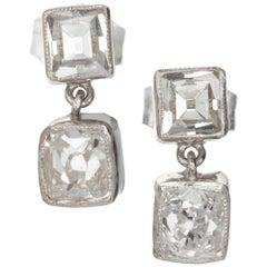 Peter Suchy 1.69 Carat Diamond Dangle Platinum Earrings