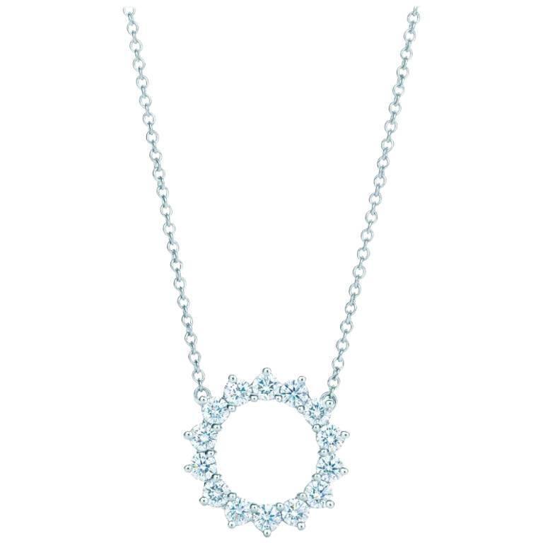 Tiffany & Co. Open Circle Diamond Pendant in Platinum 0.47 Carat