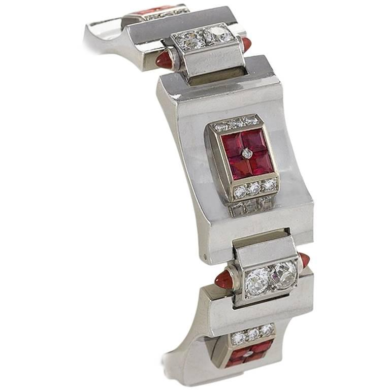French Art Deco Diamond Ruby Platinum and Gold Bracelet