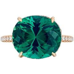 Green Tourmaline 8.15 Carat and Diamond Ring