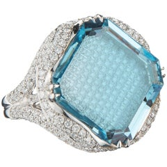 Aquamarine 15.08 Carat and Diamond Ring