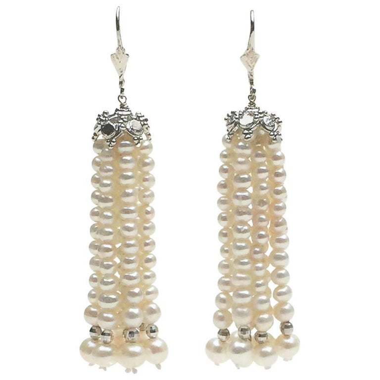 Pearl Tassel Earrings with White Gold Plated Silver Cup by Marina J.