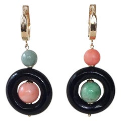 Onyx, Coral, and Jade Earrings with 14k Gold Wiring and Lever Backs by Marina J.