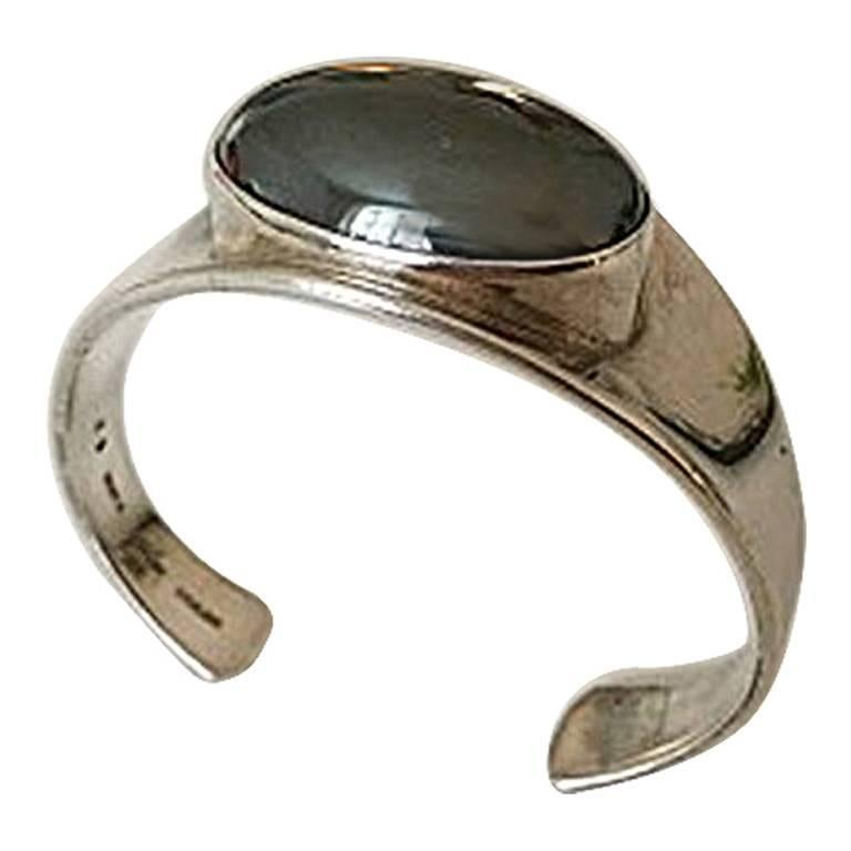 Bent Knudsen Sterling Silver Bracelet with Black Stone #19