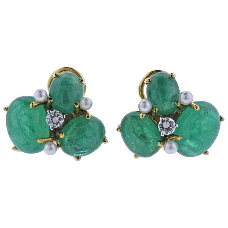 Seaman Schepps Gold Diamond Pearl Emerald Earrings