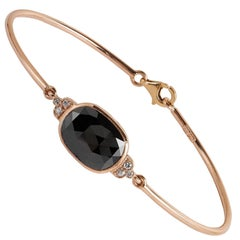 H & H 6.00 Carat Rose Cut Black Diamond Bracelet