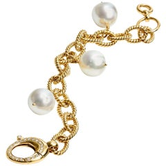 South Sea Pearl and Diamond Yellow Gold Bracelet