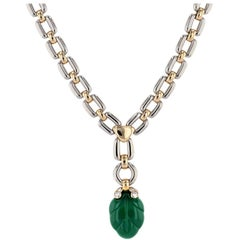 Cartier Green Chalcedony Yellow and White Gold Necklace