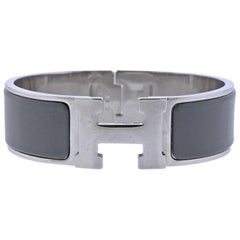 Hermes Clic Clac Grey Enamel Bangle Bracelet