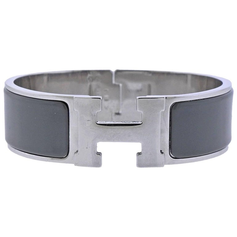 Hermes Clic Clac Grey Enamel Bangle Bracelet