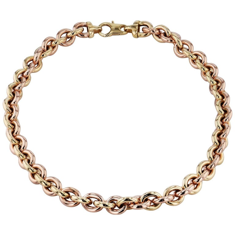 Yellow and Rose Gold Link Chain Necklace