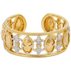 Jude Frances Marquis Fleur Diamond Gold Cuff Bracelet