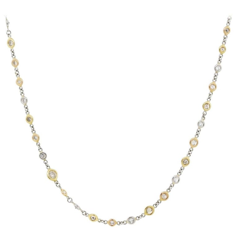 Tri-Tone Diamonds By The Yard Necklace