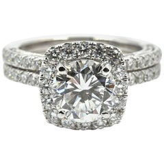 GIA Certified 2.04 Carat Round Diamond Halo Engagement Ring Set 18 Karat Gold