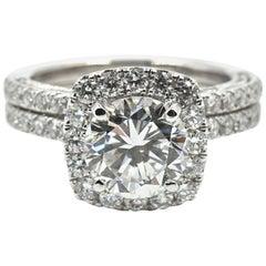 GIA Certified 2.04 Carat Round Diamond Halo Engagement Ring Set 18 Karat Gold