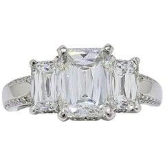 Christopher Designs Crisscut Emerald Diamonds Engagement Ring 4.01 TCW Platinum