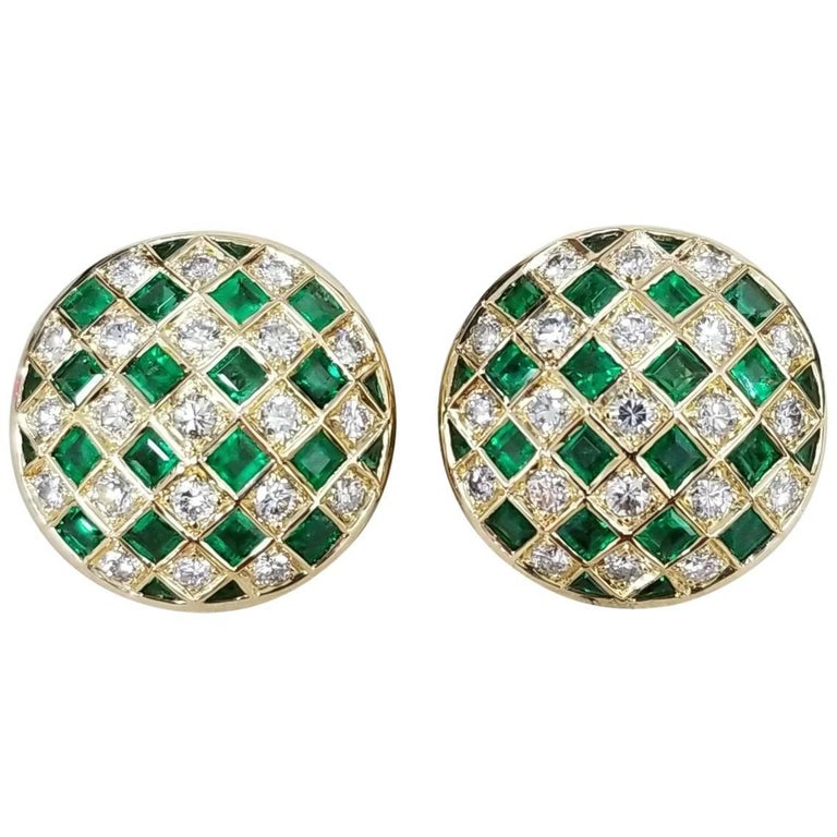 "18 Karat Yellow Gold Emerald and Diamond Domed ""Checkered"" Earrings"