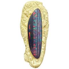 Brooch/Pendant of Australian Opal set in 18 Karat Textured Gold Surround