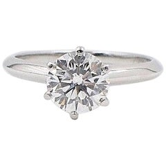Tiffany & Co. Round Diamond Engagement Ring 1.39 Carat D VS1 Platinum