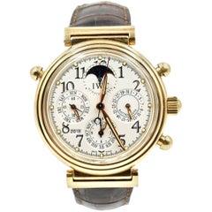 IWC Yellow Gold Da Vinci Rattrapante Perpetual Calendar Chronograph Wristwatch