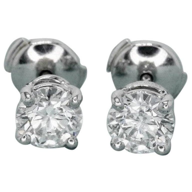 Tiffany & Co. Round Diamond Stud Earrings 2.02 Carat G VS1 and VS2 Platinum
