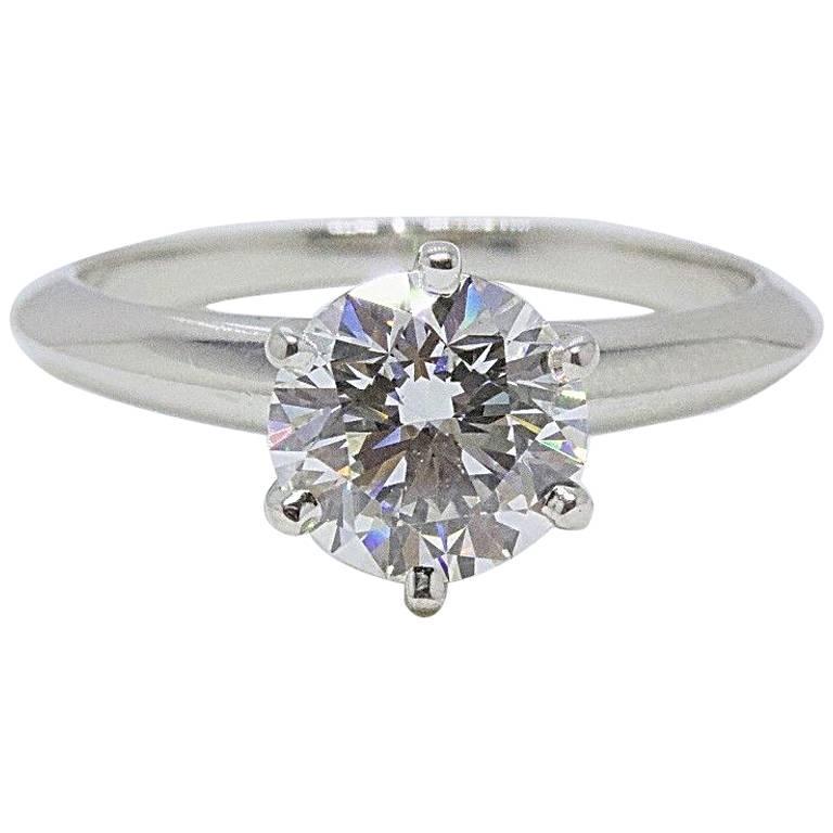 Tiffany & Co. Round Diamond Solitaire Engagement Ring 1.33 Carat G VVS1 Platinum