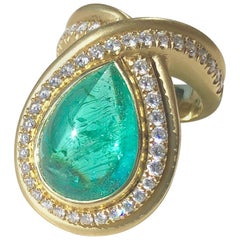 18kt Gold Band with a 10.55ct Paraiba Tourmaline and 1.04ct G SI  Diamonds