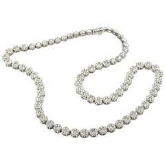 14.00 Carat Round Diamond Cluster In-Line Necklace 14 Karat White Gold
