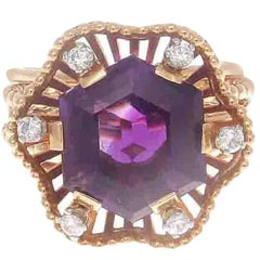 Retro Boucheron Amethyst Diamond Gold Blossoming Flower Ring
