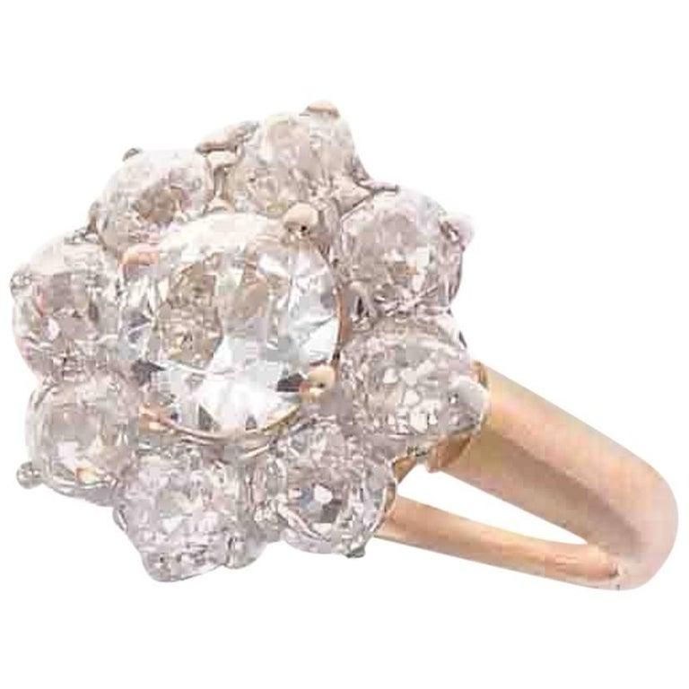 French Art Deco Diamond Flower Platinum Gold Engagement Ring