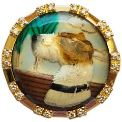 Fox Terrier Motif Essex Glasses Diamond Yellow Gold One-of-a-Kind 1950s Ring